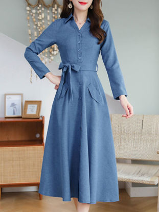 Picture of Women's A Line Dress Slim Solid Color Belt Dress - Size: M