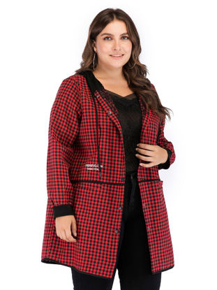 Picture of Women's Plus Size Trench Coat Fashion Hooded Plaid Single Breasted Coat - Size: 4XL