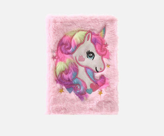Picture of 1 Pc Notebook Plushy Preppy Style Unicorn Pattern Writing Office Stationery -