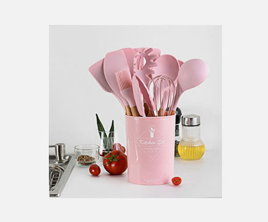 Picture of 12 Pieces Silicone Cooking Utensils Set Non-stick Spatula Shovel Wooden Handle Cooking Tools Set Kitchen Tools - Size: One Size