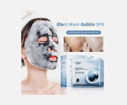 Picture of 10 Pieces Women's Black Mask Bubble Spa Detox Oxygen Charcoal Bubble Mask Moisturizing Face Care -
