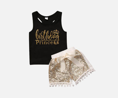 Picture of 2 Pcs Baby Girl's Shorts Set Letter Tank Top & Sequin Shorts Baby Clothes
