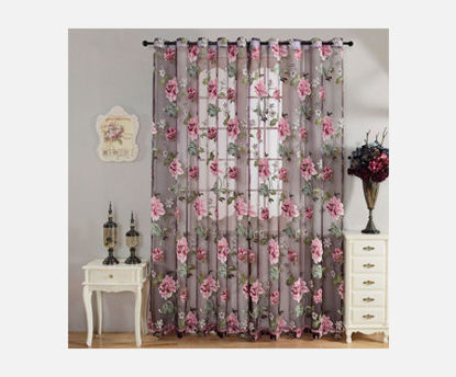 Picture of 1Pc Living Room Window Curtain Flowers Pattern Decorative Curtain - Size: 100*250cm