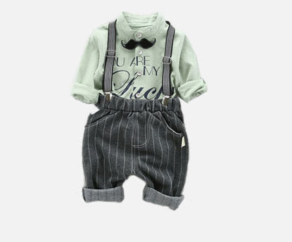 Picture of 2 Pcs Boy's Clothes Set Groovy Mustache Decor Shirt Overall Set
