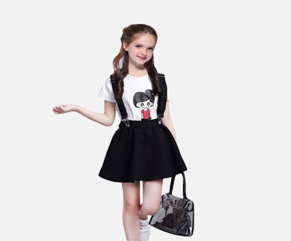 Picture of 2Pcs Girl's Set Fashion Trend Cartoon Pattern Short Sleeve Top Suspenders Skirt Set