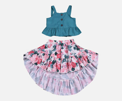 Picture of 2Pcs Girls Skirt Set Cute Sweet Camisole Floral Skirt Set