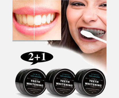 Picture of 3Pcs Teeth Whitening Powder Organic Activated Charcoal Smoke Coffee Stains Removal