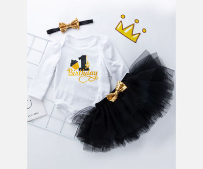 Picture of 3Pcs Baby's Set Cartoon Likable Long Sleeve Romper Skirt Hairband Set