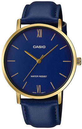 Picture of Casio MTP-VT01GL-2B Men's Minimalistic Gold Tone Blue Leather Band Blue Dial 3-Hand Analog Watch
