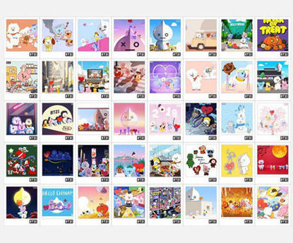 Picture of 40 Pcs LOMO Cards Set Cartoon Cute Lovely Stationery Set - Size: One Size
