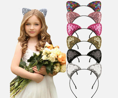 Picture of 6Pcs Girl's Hairbands Sequins Cat Ear Shaped Party Hair Accessory - Size: One Size