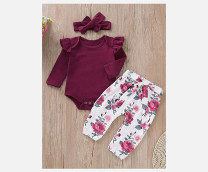 Picture of Baby 3Pcs Baby's Set Solid Color Top Flower Pattern Pants Adorable Hairband Set - Size: 80cm