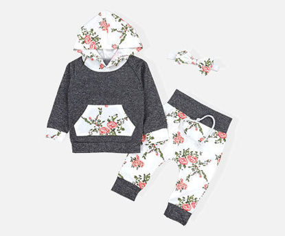 Picture of Baby 3 Pcs Baby Girl's Set Long Sleeve Kangaroo Design Pocket Hoodie Top Casual Flowers Pants And Headband - Size: 80cm