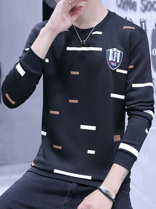 Picture of Men's Sweatshirt Long Sleeve Casual Geometric Color Block Sweatshirt - XXL