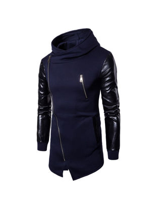 Picture of Men's Hoodie Patchwork Zipper Hooded Irregular Hem Chic Hoodie - M