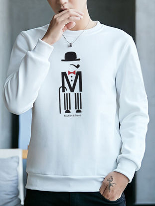 Picture of Men's Slim Sweatshirt O Neck Long Sleeve Fashion All Match Leisure Pullover - XXL