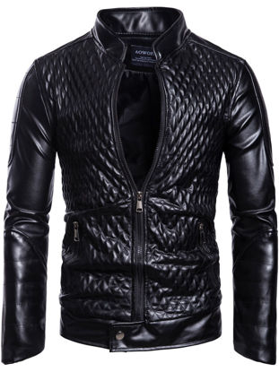 Picture of Men's Synthetic Leather Jacket Trend Stylish Grid Stand Collar Zipper Plus Size Jacket - M