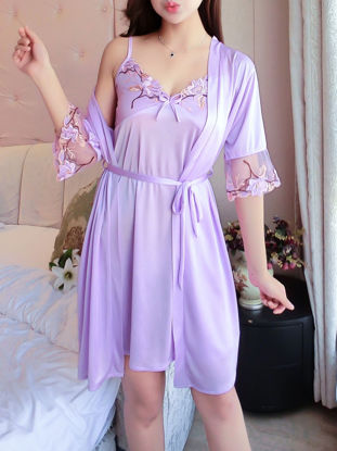 Picture of Women's 2 Pcs Sexy Robe Set Lace Patch Slip Dress Home Robe Set - Free