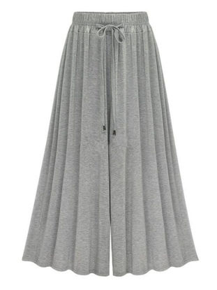 Picture of Women's Wide Leg Pants Elastic Waist Solid Color Loose Casual Cropped Pants - Free