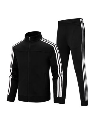 Picture of Men's 2 Pcs Pants Set Stand Collar Long Sleeve Striped Pattern Sports Jacket Casual Pants Set - L