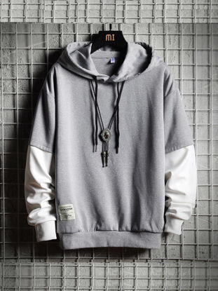 Picture of Men's Hoodie Fashion Long Sleeve Patchwork Loose Hoodie - L