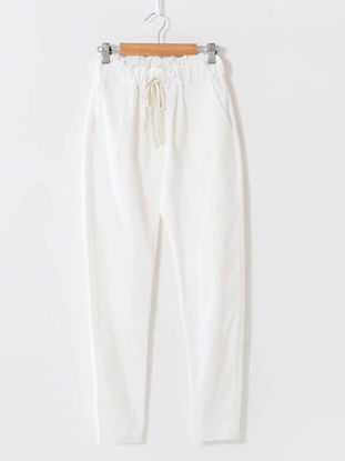 Picture of Women's Sweatpants High Waist Solid Color Waist Drawstring Pants - Free