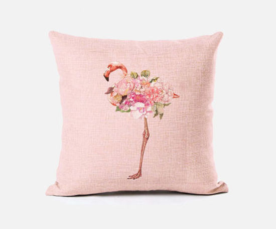 Picture of Fashion Simple Pink Flamingo Pattern Sofa Pillowcase Cushion Cover - Size: 45*45(W*L)cm