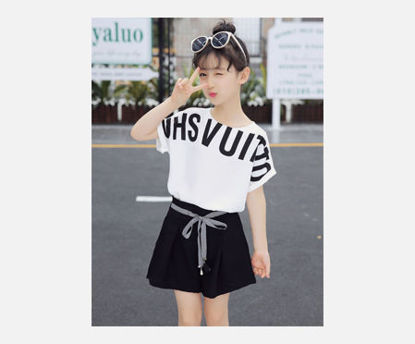Picture of Girl's 2 Pcs Shorts Set Letter Pattern Comfy Fashion Set