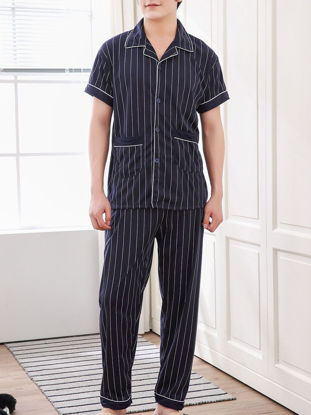 Picture of Men's 2Pcs Sleep Set Turn Down Collar Top Striped Casual Pants Set -Size: XXL