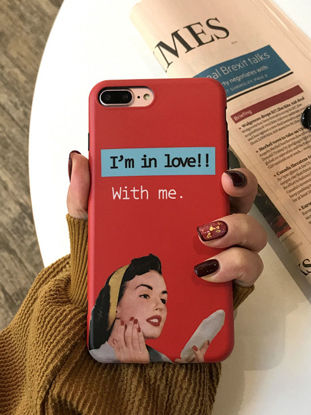Picture of iPhone XS/XS Max/XR/X/8/8 Plus/7/7 Plus/6S/6S Plus/6/6 Plus Phone Cover Girl Printed Retro Style Hard Phone Case -Size: IPhone X