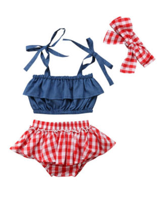 Picture of Baby Girl's 3 Pcs Clothing Set Sweet Sleeveless Denim Top Lattice Shorts Headband Outfit Clothes -Size: 70cm