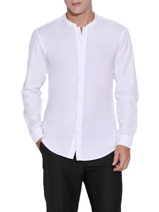 Picture of Men's Shirt Stand Collar Long Sleeve Solid Color Top -Size: XL