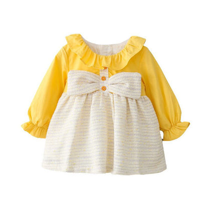 Picture of Baby Girls' Dress Ruffled Collar Patchwork Sweet Aline Dress -Size: Reference Height:100cm