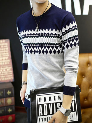 Picture of Men's Pullover Sweater O Neck Thicken Geometric Pattern Casual Knitwear -Size: M