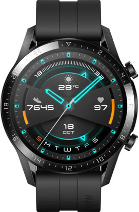 Picture of HUAWEI Watch GT 2 2019 Bluetooth SmartWatch, Sport GPS 14 Days Working Fitness Tracker, Blood Oxygen Monitor Heart Rate Tracker Waterproof for Android and iOS, 46mm, Matte Black