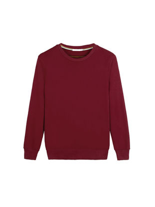 Picture of Men's Sweatshirt Fleece Lining Casual Long Sleeves O Neck Solid Sweatshirt - Size: M