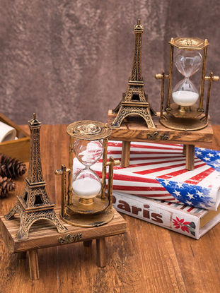 Picture of Creative Retro Tower Hourglass Ornaments Wooden Pendulum Sandglass Decoration - Size: One Size