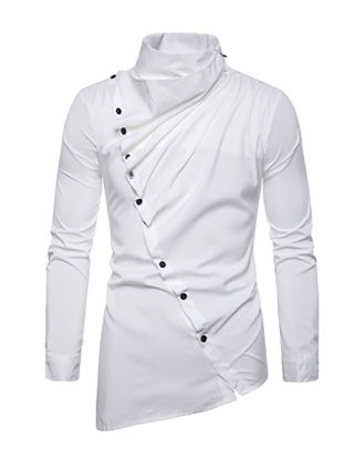 Picture of Men's Shirt Asymmetrical Solid Color Long Sleeve Top - Size: XXL