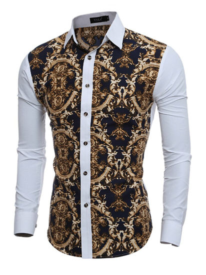 Picture of Men's Shirt Patchwork Color Stylish Casual Retro Style Print Shirt - XXL