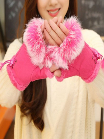 Picture of Women's Gloves Fluffy Hair Ornament Open Finger Sweet Warm Stylish Gloves Accessory - Free