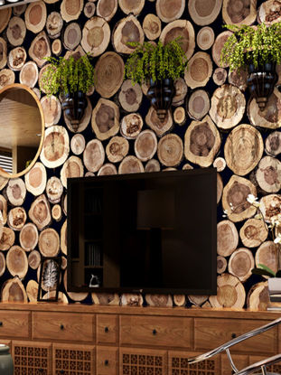 Picture of Decorative Wallpaper Wood Grain Stakes Pattern Cafe Shop Background Wallpaper - One Size