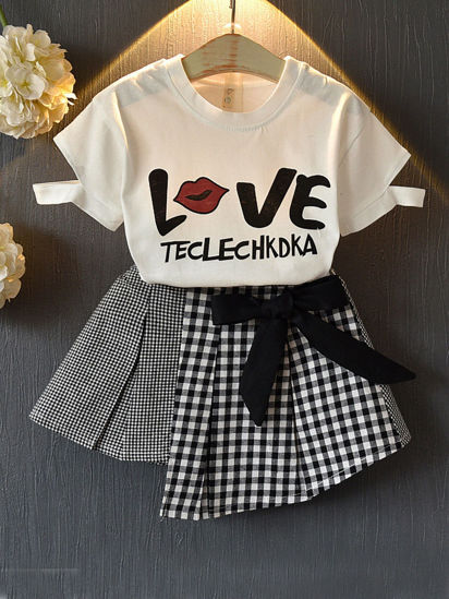 Picture of Girl's 2 Pcs Skirt Set O Neck Short Sleeve Print Top Cozy All Match Set - Reference Height:130cm