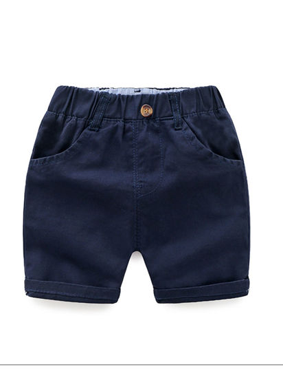Picture of Boy's Shorts Solid Color Elastic Waist Pocket Decor Half Shorts - Reference Height:100cm