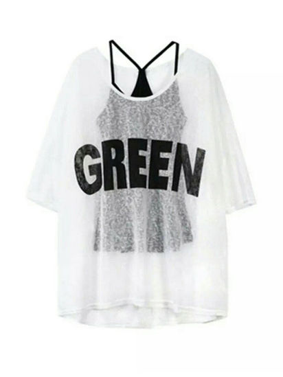 Picture of Women's 2Pcs Top Suit Casual Solid Camisole Letter O Neck Top Set - S