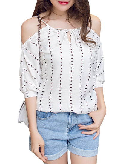 Picture of Women's Blouse Bow Striped Hollow Shoulder Top - Free