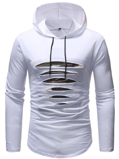 Picture of Men's T Shirt Fashion Hollow Design Hooded Design Long Sleeve Top - M