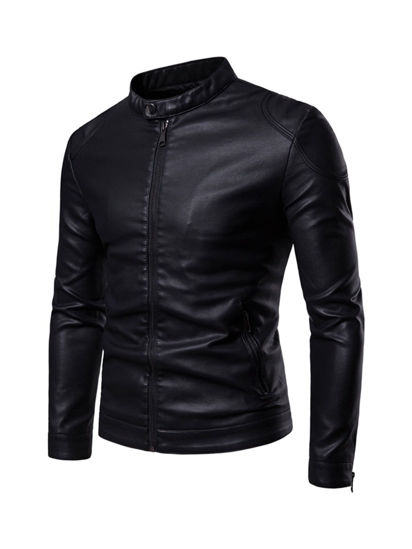 Picture of Men's Synthetic Leather Jacket Stand Collar Solid Color Slim Jacket - L