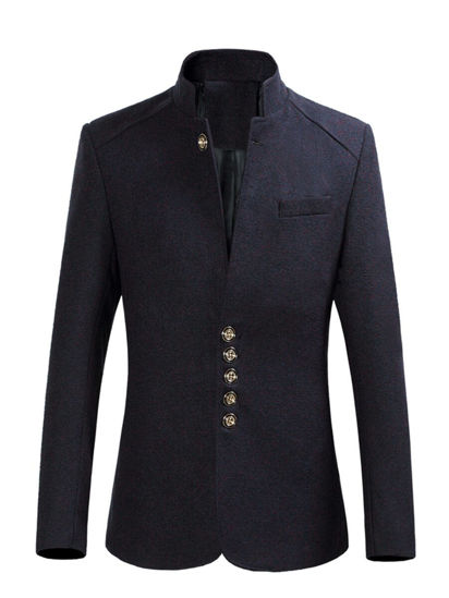 Picture of Men's Blazer Stand Collar Single Breasted Fashion Coat - M