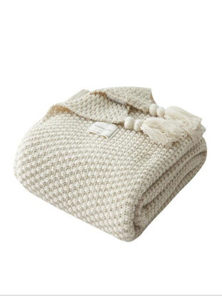 Picture of 1 Pc Blanket Solid Color Tassels Knitted Supple Home Sofa Blanket - One Size
