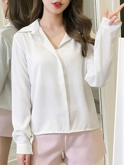 Picture of Women's Shirt Solid Color Button Design All Match Shirt - XL